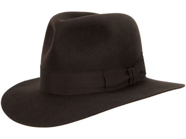Adventurer Hat by Akubra, Open Crown, Mid Brown, shown with an Indy Bash similar to the hats worn by Indiana Jones